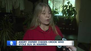 Woman chases thief who destroys her SUV