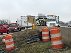 Truck crashes at accident site in Wayne County