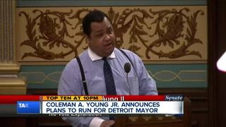 Coleman Young Jr. announces run for mayor