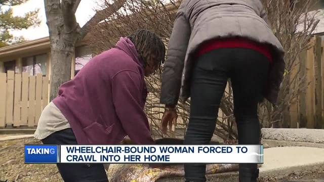 Handicapped woman forced to crawl into her home