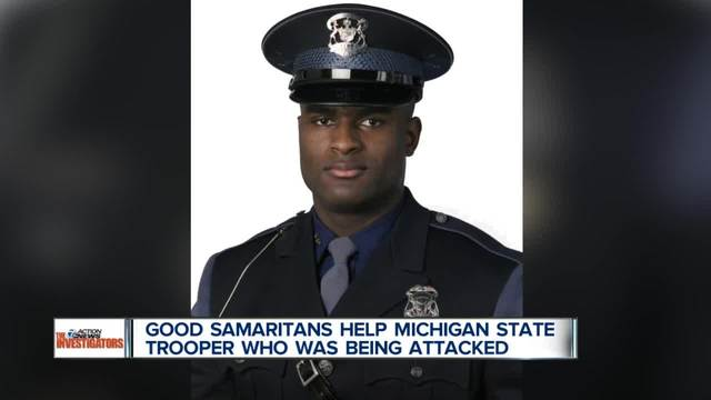 Michigan State Trooper attacked during traffic stop, Good Samaritans stop to help