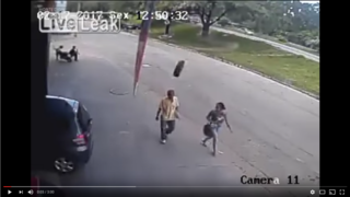 VIDEO: Man survives getting hit in head by tire