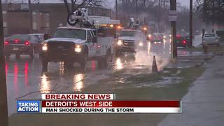 Man shocked by down power line in Detroit