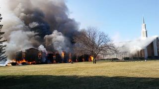 Crews battle massive fire at Monroe Co. church