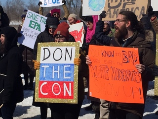 Protestors outnumber Trump supporters at event