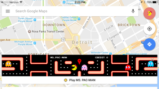 Use Google Maps app to play Ms. Pac-Man
