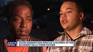 2 men help save kids in backseat of burning car