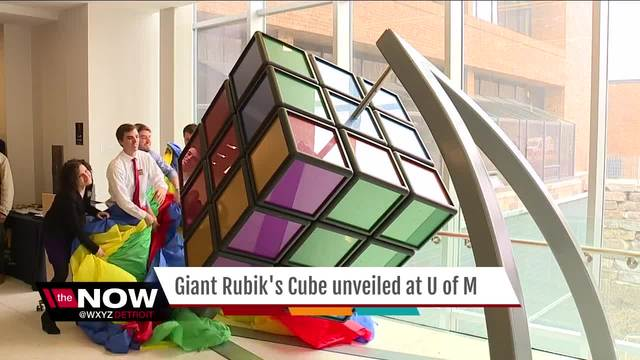 University of Michigan unveils 1500-pound Rubik's Cube