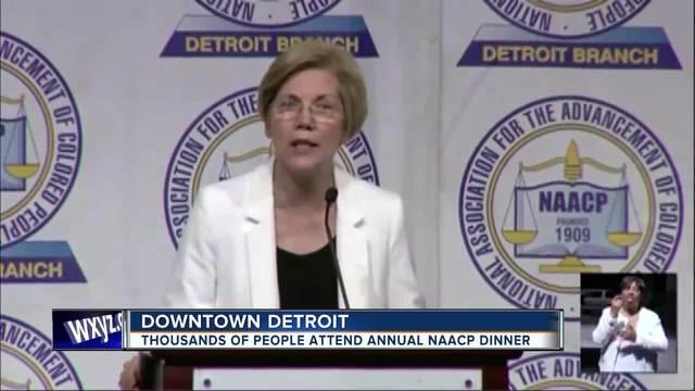 Sen- Elizabeth Warren speaks at Detroit NAACP dinner