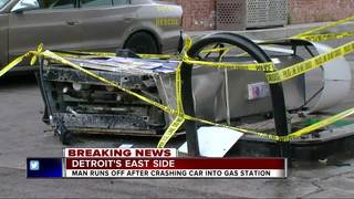 Driver leaves after crashing into gas station