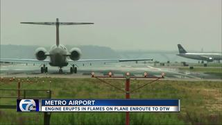 Delta engine erupts in flames enroute to Detroit