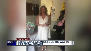 Bride-to-be gets into a ditch to save motorist