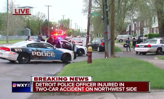 Detroit police officers among 3 injured in car crash