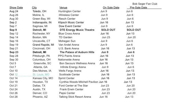 Bob Seger  Tour Dates In The Us