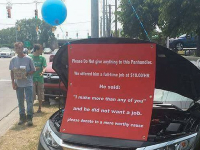 Panhandler turns down job offer, car dealership fires back