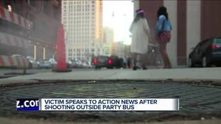 Victim speaks after 3 shot outside party bus