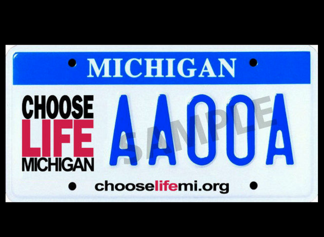 Michigan's GOP governor vetoes 'Choose Life' license plate