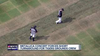 Comerica Park's outfield damaged after concert