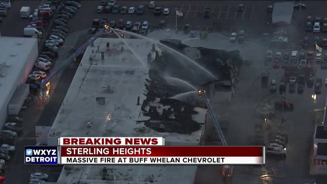 Three alarm fire reported at Buff Whelan Chevy dealership in Sterling Heights