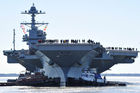 Trump helps commission USS Gerald R Ford