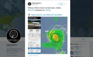 This Delta plane flew into Hurricane Irma