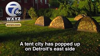 Group builds tent city for Detroit homeless