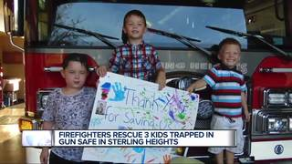 Kids rescued after getting locked in gun safe