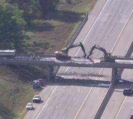 I-96 overpass being demolished after crash