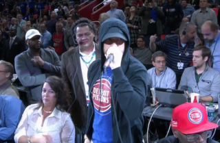 Eminem on the mic to open Pistons first LCA game