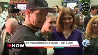 Mark Wahlberg visits kids at Beaumont Hospital