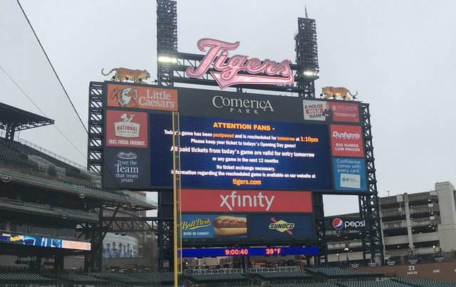Opening Day for Detroit Tigers Postponed
