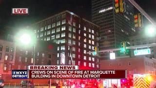 Crews battle fire at downtown Detroit building