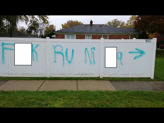 Person spray painted racial slurs in Redford Twp