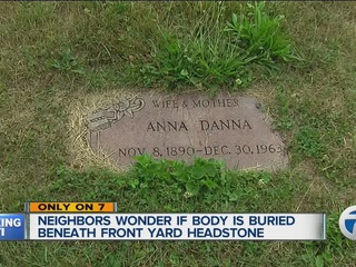 Headstone found in front yard of Detroit home