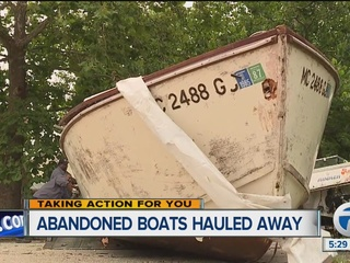 Abandoned boats on Detroit's west side removed