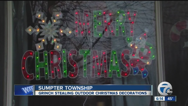 sumpter township police are searching for a grinch who is stealing christmas decorations