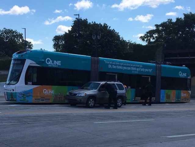 Vehicle cuts in front of QLINE causing accident - WXYZ.com