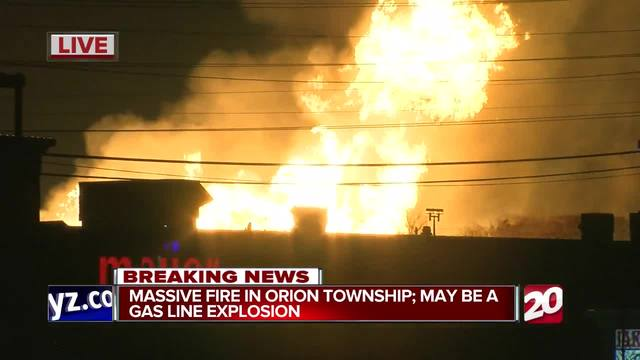 Huge gas line fire burning in MI