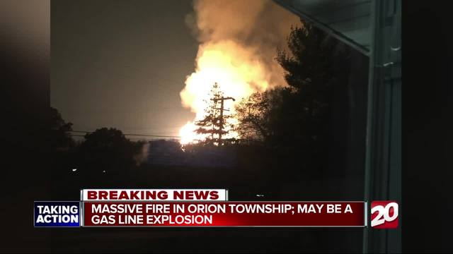Massive gas line fire burning in Orion Township