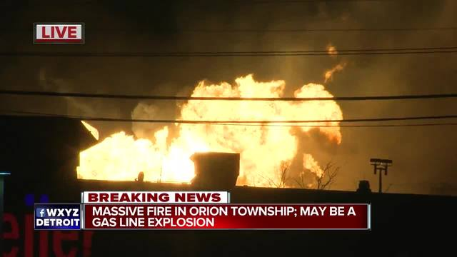 Gas leak triggers massive fire in Orion Township