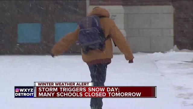 Storm triggers snow day- Many schools closed tomorrow