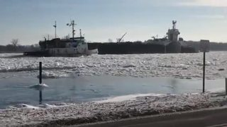 Watch Coast Guard free freighter trapped in ice