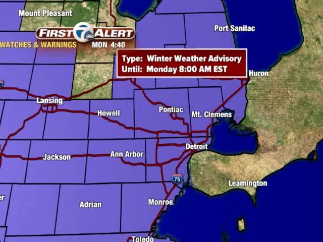 Metro Detroit Weather: Winter Weather Advisory till 8am