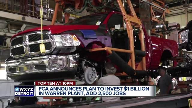 FCA announces plan to invest more than $1 billion in Michigan plant