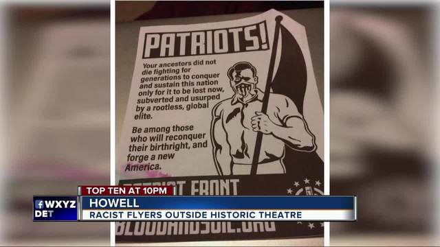 a nationally recognized white supremacy group is responsible for hate flyers found on vehicles outside the historic howell theater on jan 20