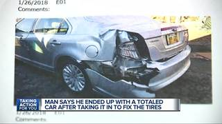 Man says Belle Tire totaled his car