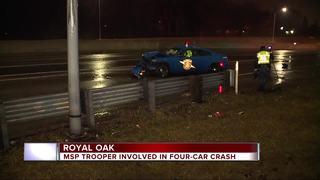 MSP car involved in crash on I-75 at 12 Mile