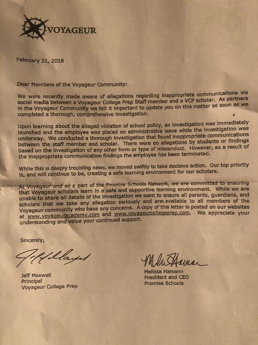 School's letter
