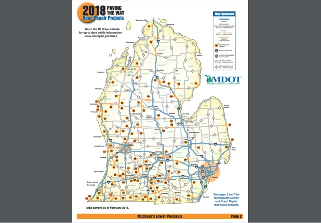 heres a map of the michigan construction projects in 2018