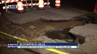 Pothole causes road collapse in neighborhood